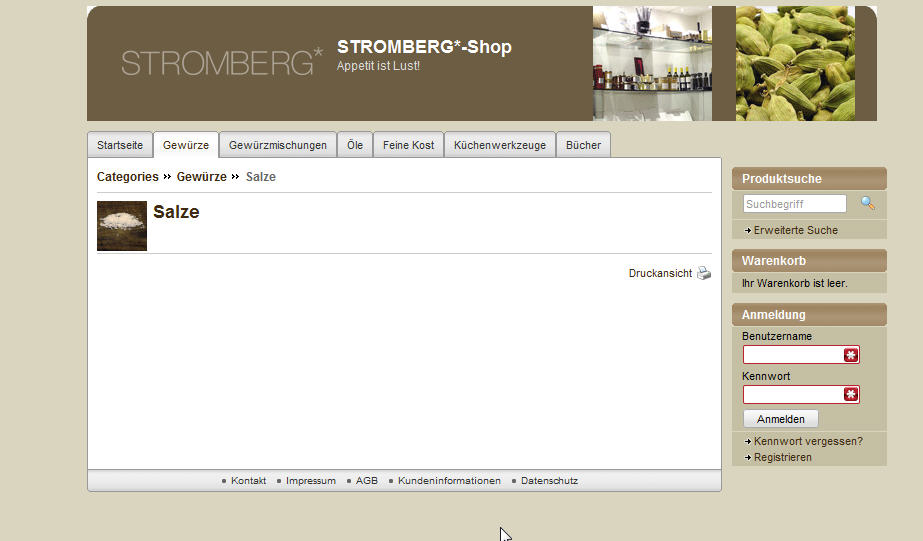 Screenshop Onlineshop Stromberg